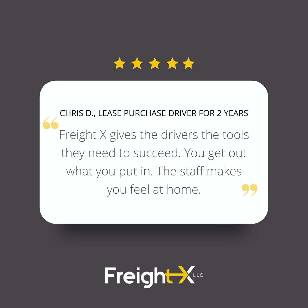 Freight X gives the drivers the tools they need to succeed. You get out what you put in. The staff makes you feel at home.